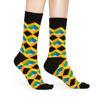 Čierne ponožky Happy Socks, vzor Optic Square