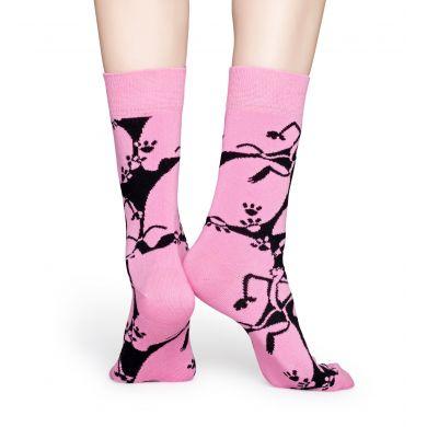 Ružovo-čierne ponožky z kolekcie Happy Socks x Pink Panther, vzor Pink-A-Boo