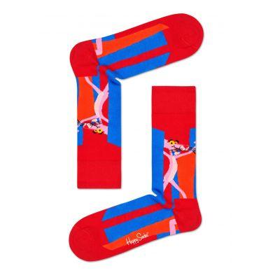 Červeno-modré ponožky z kolekcie Happy Socks x Pink Panther, vzor Smile Pretty, Say Pink