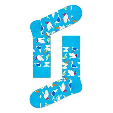 Modré ponožky Happy Socks s holubmi, vzor Pigeon