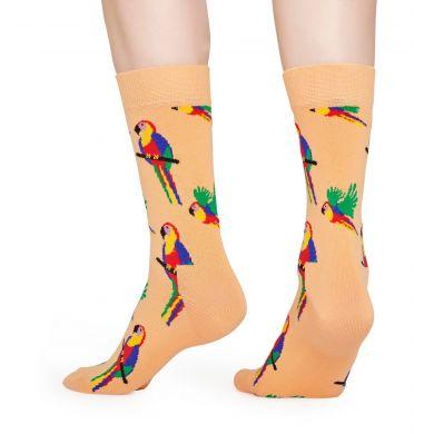 Oranžové ponožky Happy Socks s papagájmi, vzor Parrot