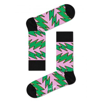 Zeleno-ružové ponožky Happy Socks, vzor Rock'n Roll Stripe