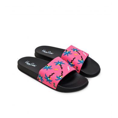 Ružové šľapky Happy Socks Pool Slider s palmami a konfetami, vzor Confetti Palm