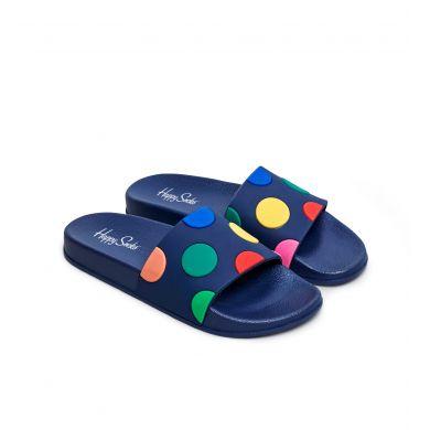 Modré šľapky Happy Socks Pool Slider s farebnými bodkami, vzor Dot