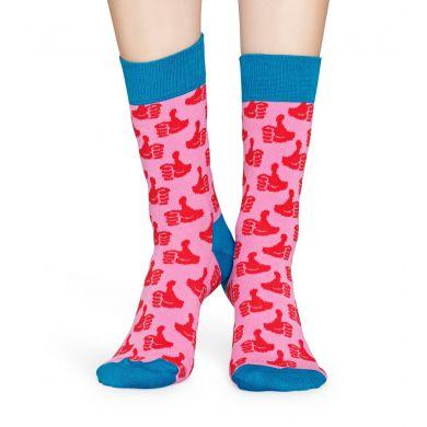 Ružovo-červené ponožky Happy Socks s palcami, vzor Thumbs Up