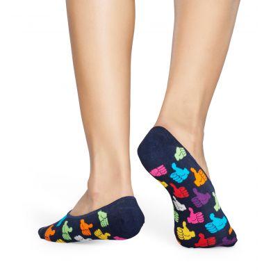Tmavo modré nízke ponožky Happy Socks s palcami, vzor Thumbs Up