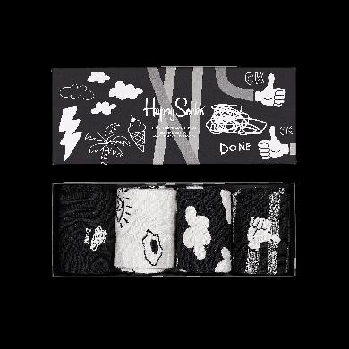 Darčekový box ponožiek Happy Socks Black And White - 4 páry