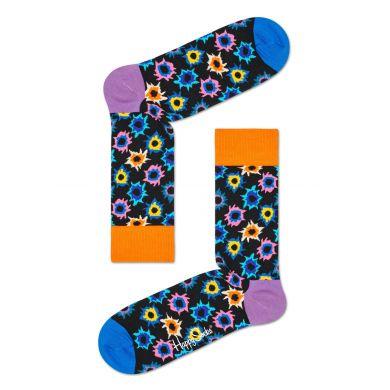Čierne ponožky Happy Socks s farebným vzorom Bang