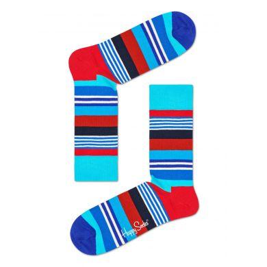 Modré ponožky Happy Socks s farebnými prúžkami, vzor Multi Stripe