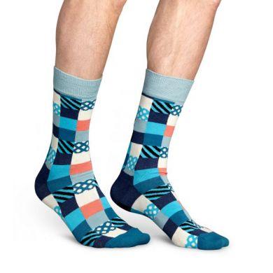 Modré ponožky Happy Socks se čtverečky, vzor Multicolor