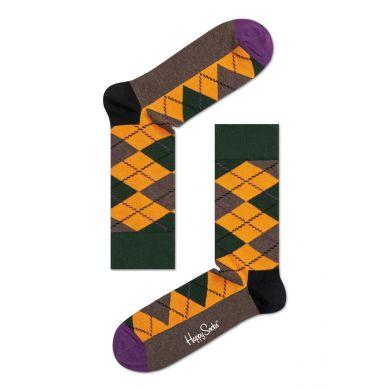 Oranžovo-zelené ponožky Happy Socks s károvaným vzorem Argyle
