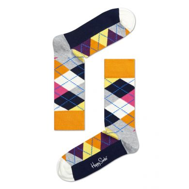 Sivo-farebné ponožky Happy Socks s károvaným vzorem Argyle