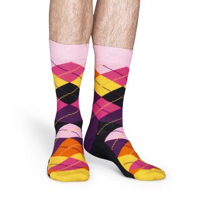 Ružovo-žlté ponožky Happy Socks s károvaným vzorem Argyle