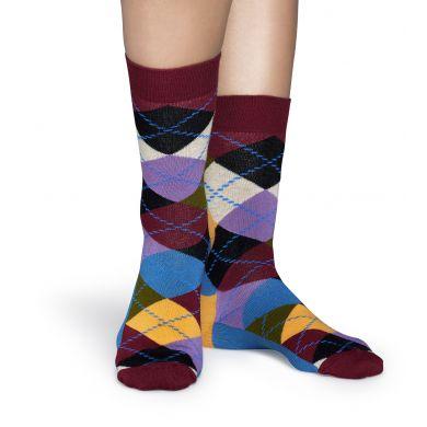 Vínovo-fialové ponožky Happy Socks s károvným vzorom Argyle