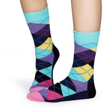 Tyrkysovo-fialové ponožky Happy Socks s károvaným vzorem Argyle