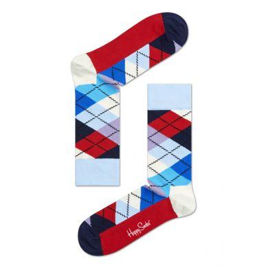 Světlomodro-červené ponožky Happy Socks s károvaným vzorem Argyle