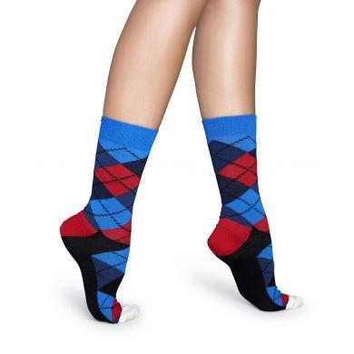 Červeno-modré ponožky Happy Socks s károvaným vzorom Argyle