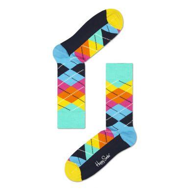 Barevné (tyrkysové) ponožky Happy Socks s károvaným vzorem Argyle