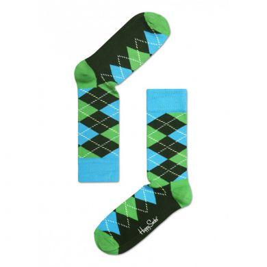 Barevné (zelené) ponožky Happy Socks s károvaným vzorem Argyle