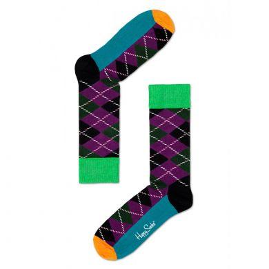 Barevné (fialové) ponožky Happy Socks s károvaným vzorem Argyle