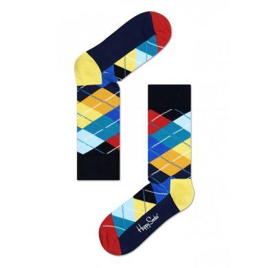 Barevné (žlté) ponožky Happy Socks s károvaným vzorem, vzor Argyle