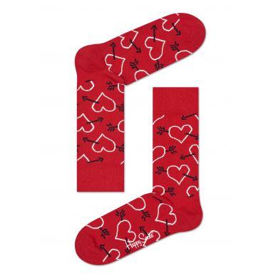 Červené ponožky Happy Socks se srdci a šípy, vzor Arrows and Hearts