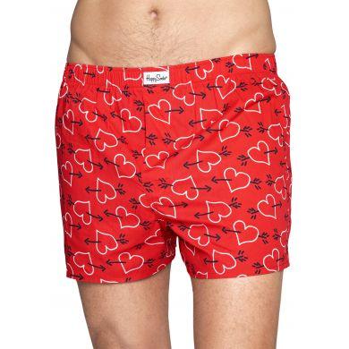 Červené trenírky Happy Socks so srdcami a šípmi, vzor Arrows and Hearts