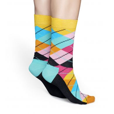 Žlto-tyrkysové ponožky Happy Socks s károvaným vzorem Argyle