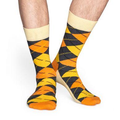 Žluté ponožky Happy Socks s károvaným vzorem Argyle