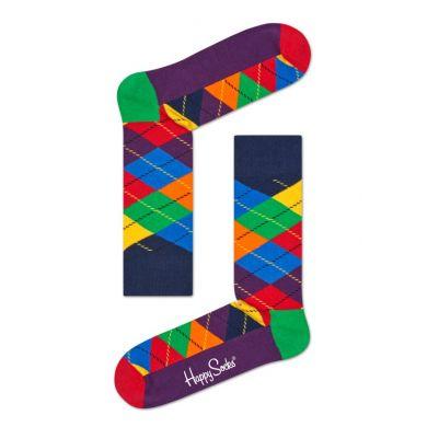 Fialovo-farebné ponožky Happy Socks s károvaným vzorom Argyle