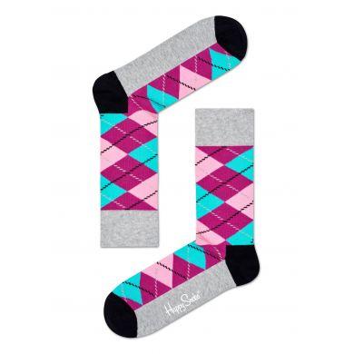 Sivo-ružové ponožky Happy Socks s károvaným vzorem Argyle