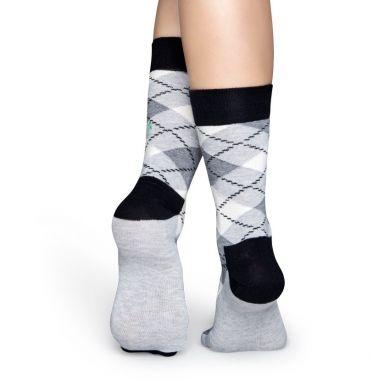 Šedé ponožky Happy Socks s károvaným vzorom Argyle