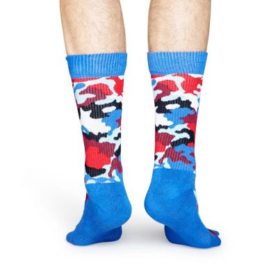 Modré ponožky Happy Socks s farebným maskáčom, vzor Bark // kolekcia Athletic