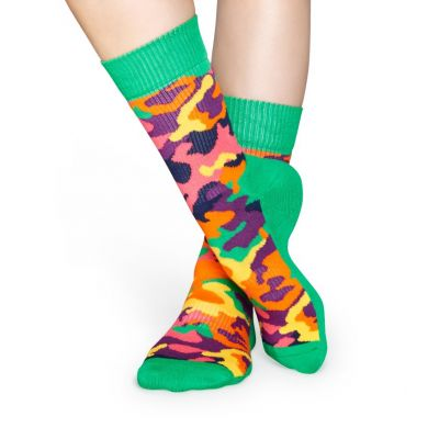 Zelené ponožky Happy Socks s farebným maskáčom, vzor Bark // kolekcia Athletic