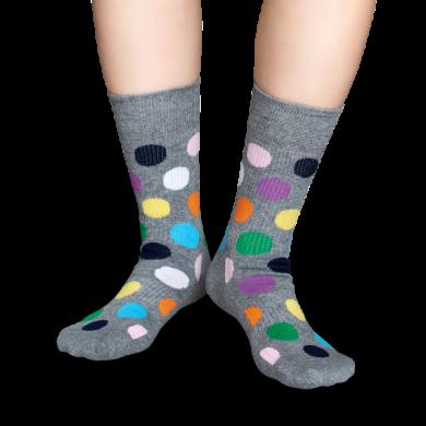 Šedé ponožky Happy Socks s barevnými puntíky, vzor Big Dot // kolekce Athletic