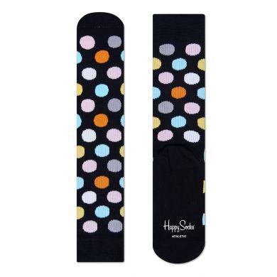 Černé ponožky Happy Socks s barevnými puntíky, vzor Big Dot // kolekce Athletic