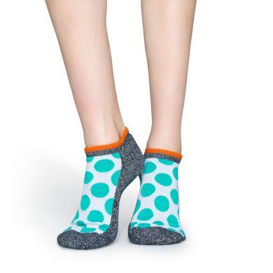 Nízke zelené ponožky Happy Socks s bodkami, vzor Big Dot // kolekcia Athletic