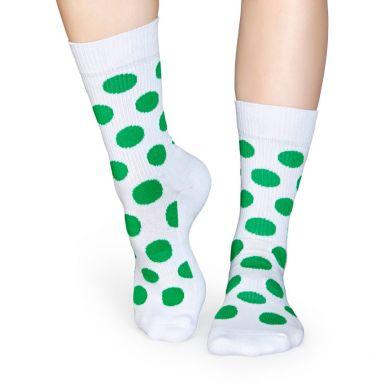 Bílé ponožky Happy Socks se zelenými puntíky, vzor Big Dot // kolekce Athletic