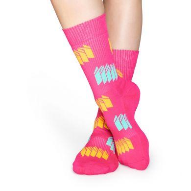 Ružové ponožky Happy Socks s farebným vzorom Blinds // kolekcia Athletic