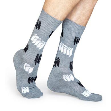 Šedé ponožky Happy Socks s čiernobielym vzorom Blinds // kolekcia Athletic