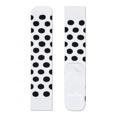Bílé ponožky Happy Socks s černými puntíky, vzor Big Dot // kolekce Athletic