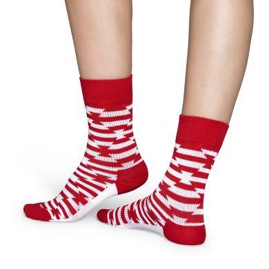 Červenobílé ponožky Happy Sokcs se vzorem Barb Wire // kolekce Athletic