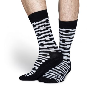 Černobílé ponožky Happy Socks se vzorem Barb Wire // kolekce Athletic