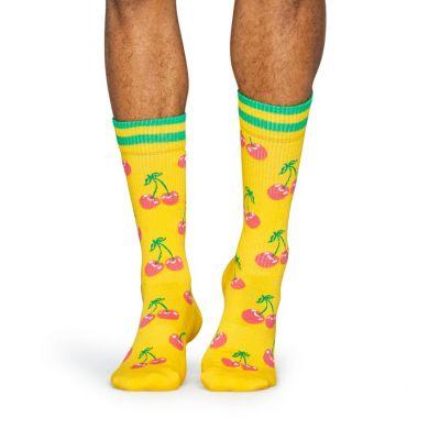 Žlté ponožky Happy Socks s ružovými čerešničkami, vzor Cherry // kolekcia Athletic