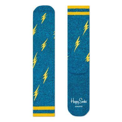 Modré ponožky Happy Socks so žltými bleskami, vzor Flash // kolekcia Athletic