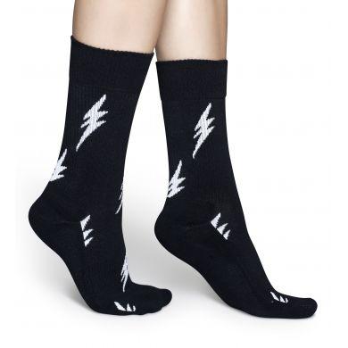 Černé ponožky Happy Socks s bílými blesky, vzor Flash // kolekce Athletic