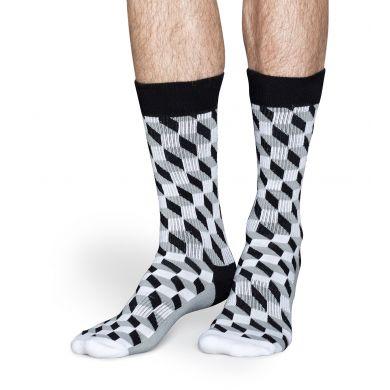 Šedé ponožky Happy Socks s černobílým vzorem Filled Optic // kolekce Athletic