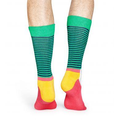 Farebné pruhované ponožky Happy Socks, vzor Half Stripe // kolekcia Athletic