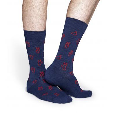 Modré ponožky Happy Socks s červenými dlaněmi, vzor Hello // kolekce Athletic