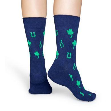 Modré ponožky Happy Socks se vzorem Lucky // kolekce Athletic